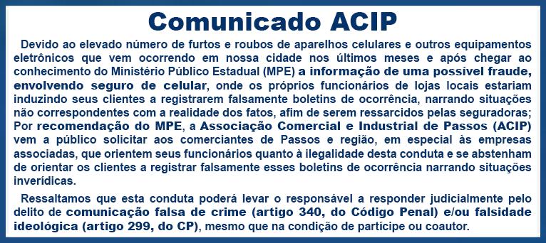 Comunicado ACIP - Fraude envolvendo seguro de celular