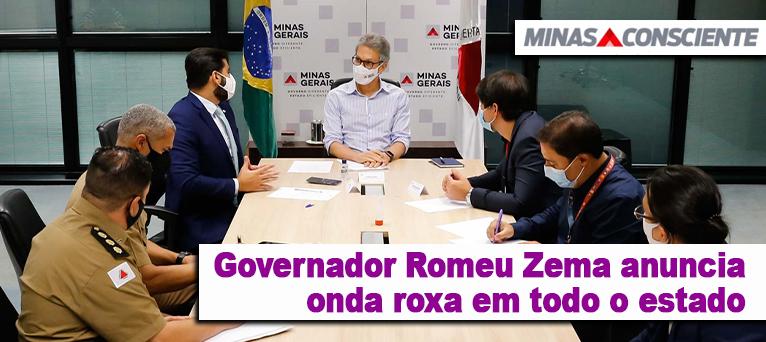 Governador Romeu Zema anuncia onda roxa em todo o estado