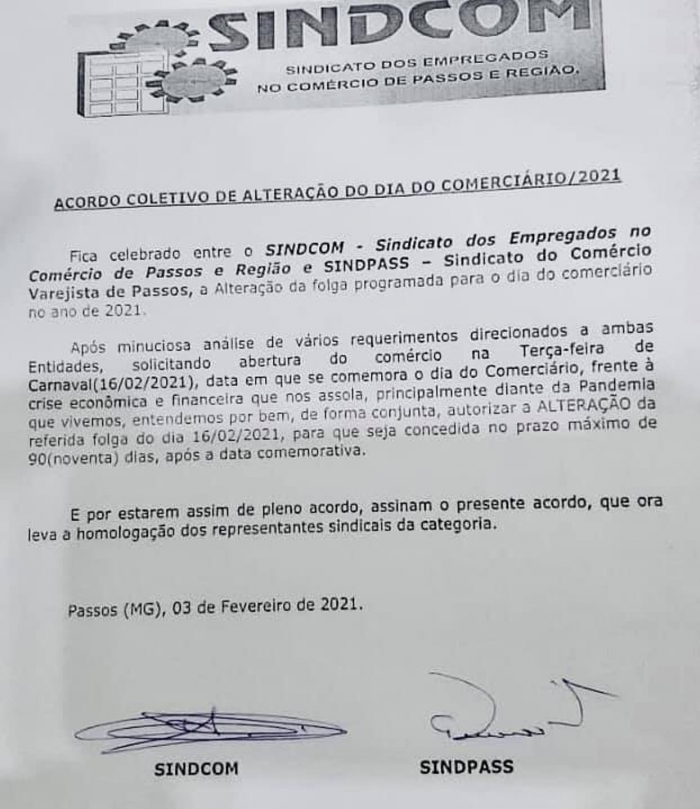 Acordo assinado na manhã desta quarta-feira, 3 de fevereiro