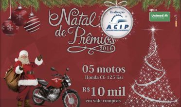 Campanha de Natal terá cinco motos e mais de R$ 16 mil em prêmios