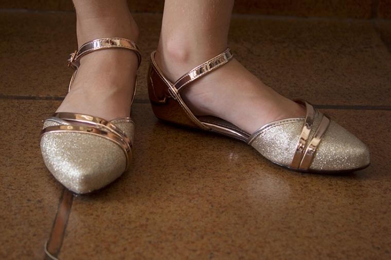 Sapatilha Molekinha Glitter Cobre By Calusa Calçados