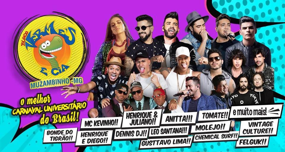 Carnaval Muzambinho 2018 Oficial de 9 a 13 de Fevereiro/ Muzambinho-MG