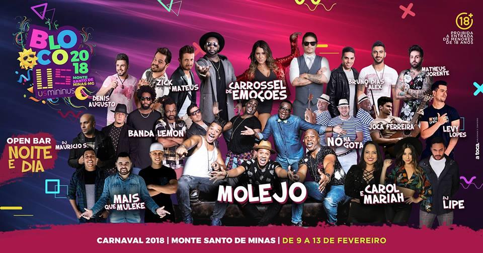Carnaval 2018 - Bloco Us Mininus de 9 a 13 de Fevereiro - Monte Santo de Minas-MG