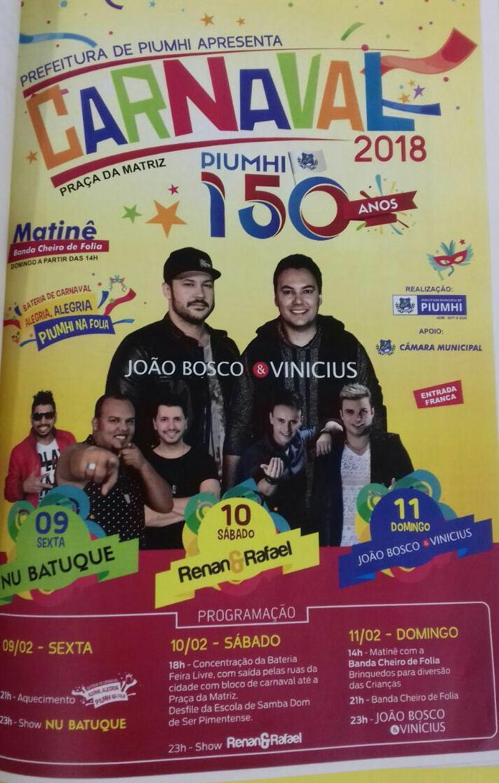 Carnaval Piumhi-MG 2018 - 150 anos! 9 a 11 de Fevereiro