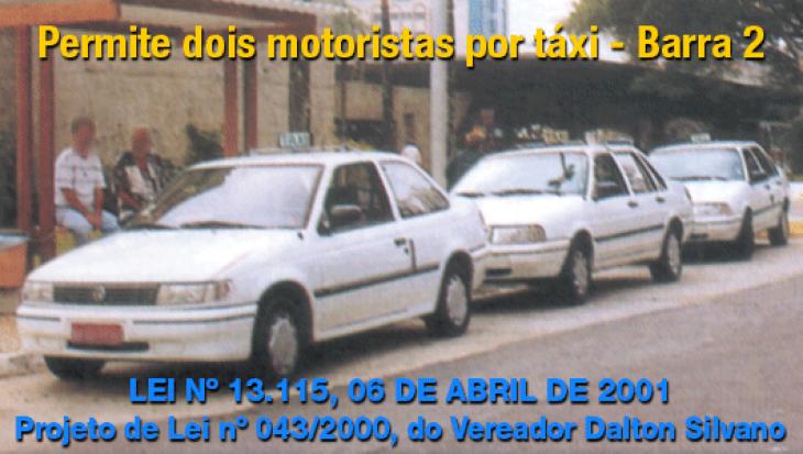 Permite dois motoristas por táxi - Barra 2