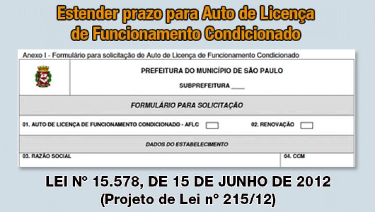 Estender o prazo para Auto de Licença de Funcionamento Condicionado