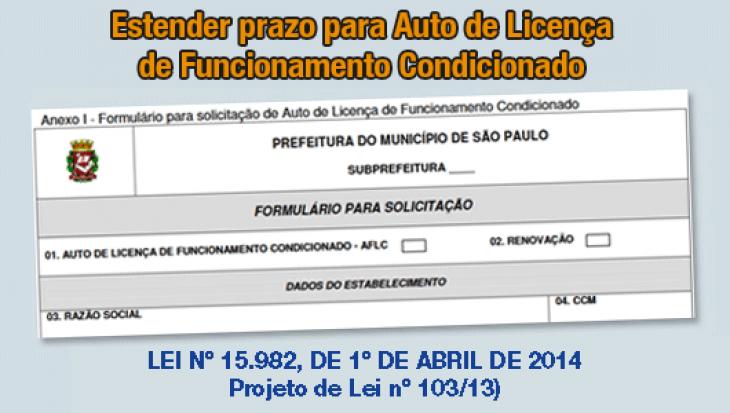 Estender o prazo de requerimento do Auto de Licença de Funcionamento Condicionado