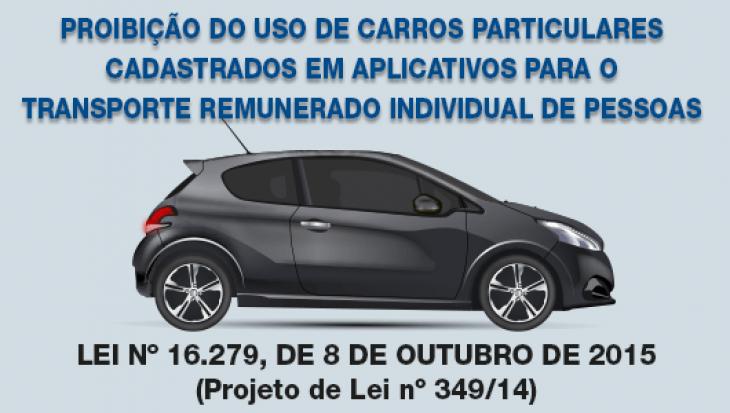 Proibição do uso de carros particulares cadastrados em aplicativos para o transporte remunerado individual de pessoas