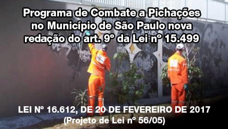 Programa de Combate a Pichações no Município de São Paulo nova redação do art. 9º da Lei nº 15.499