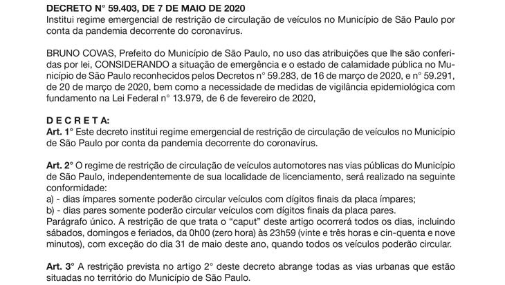 DECRETO N° 59.403, DE 7 DE MAIO DE 2020