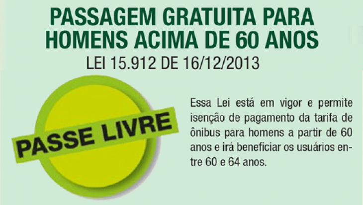 PASSAGEM GRATUITA PARA HOMENS ACIMA DE 60 ANOS