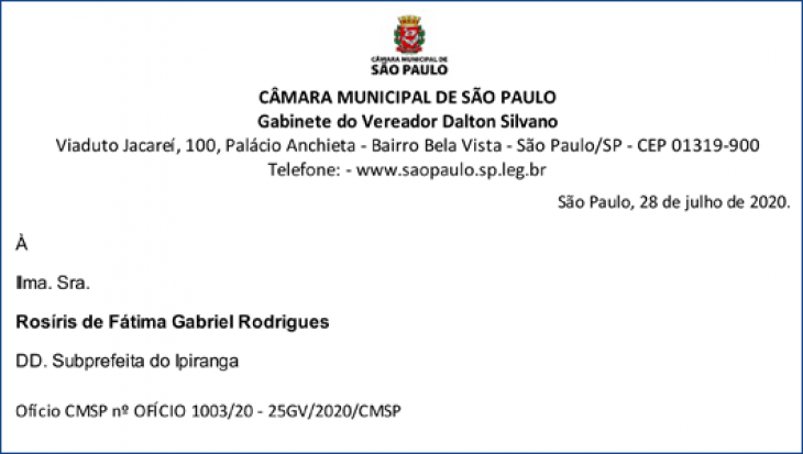 Ofício CMSP nº OFÍCIO 1003/20 - 25GV/2020/CMSP
