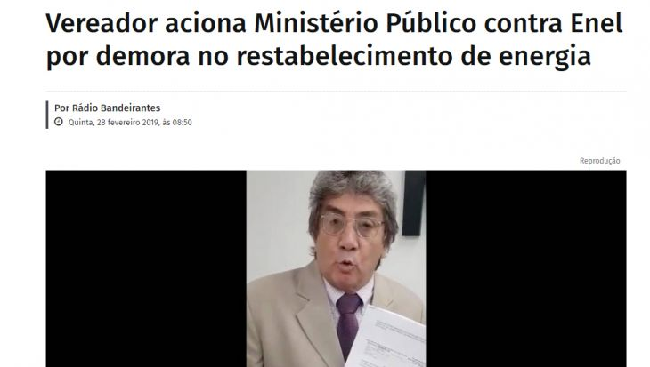 Vereador aciona Ministério Público contra Enel por demora no restabelecimento de energia