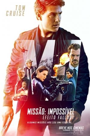 Missão Impossível - Efeito Fallout Quando uma importante missão não sai como o planejado, Ethan Hunt (Tom Cruise) e o time do IMF unem forças em ação numa corrida contra o tempo para acertar as contas com os erros do passados.