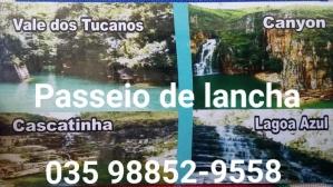 Pessoal, vamos aproveitar a estiagem da chuva e dar um passeio de lancha e conhecer as cachoeiras dos, da lagoa azul, a cascatinha e o vale dos tucanos. Preço especial par turma formada...