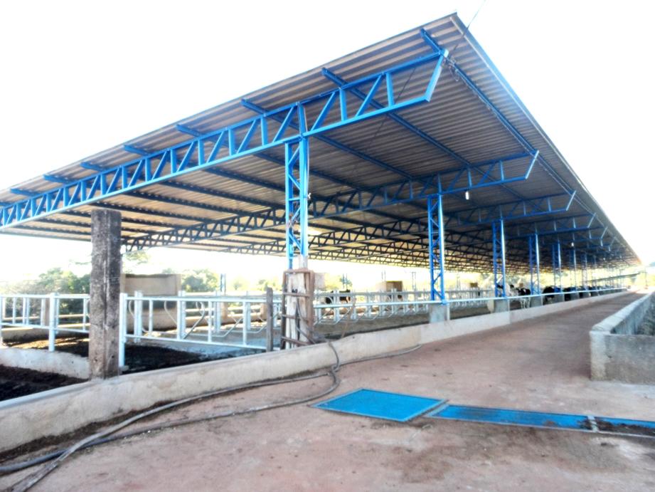 Galpão em estrutura metálica no modelo de varanda com pilar metálico.