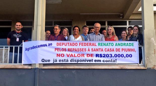 Deputado Federal Renato Andrade recebe agradecimento da Santa Casa de Piumhi
