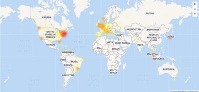 Mapa mostra volume de reclama��es relacionadas ao Instagram por volta das 12h desta quinta (Foto: Reprodu��o/Down Detector)
