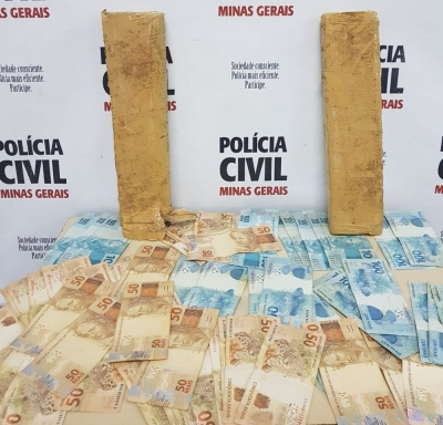 Droga e dinheiro foram encontrados dentro de quarto de pens�o em Po�os de Caldas (MG) (Foto: Pol�cia Civil)