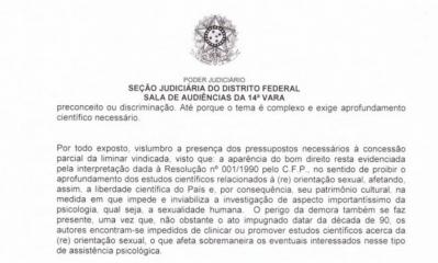 Trecho da dcis�o do juiz federal do Distrito Federal - Reprodu��o/Ag�ncia O Globo
