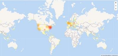 Mapa mostra volume de reclama��es relacionadas ao Facebook por volta das 12h desta quinta (11) (Foto: Reprodu��o/Down Detector)