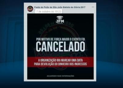 An�ncio de cancelamento da festa foi feito no �ltimo s�bado pela internet (Foto: Reprodu��o EPTV)